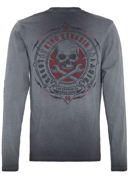 KING KEROSIN Langarm Shirt mit Backdruck in Used-Optik Loud & Dirty