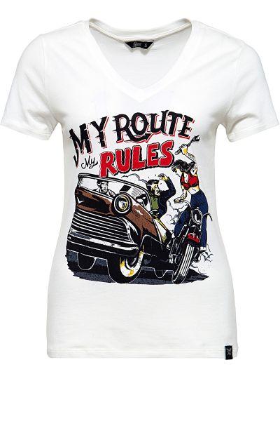QUEEN KEROSIN T-Shirt mit V-Ausschnitt und Print im Retro-Stil My Route My Rules