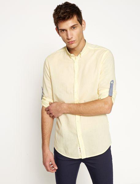KOTON Langarmhemd mit kontrastfarbener Ärmellasche und Kragenbeleg