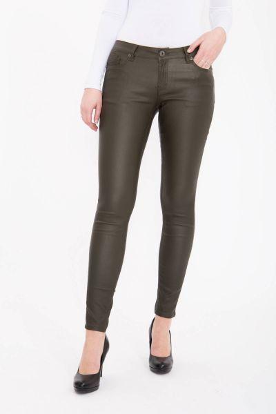 BLUE MONKEY Skinny Fit Jeans mit schimmernder Allover-Beschichtung Honey 7096