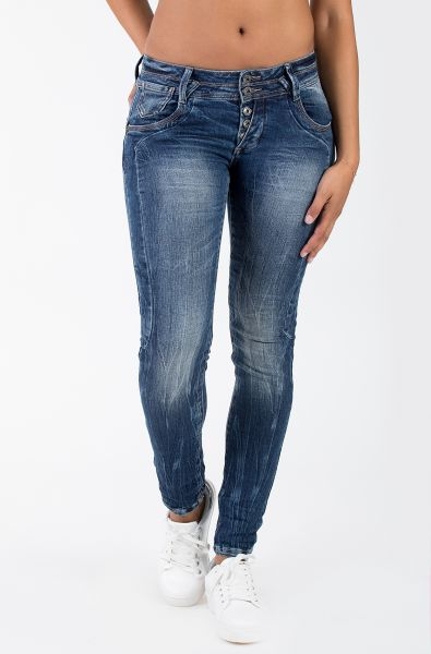 BLUE MONKEY Skinny Jeans »Anny 1605« mit Teilungsnähten, Used Waschung Anny 1605
