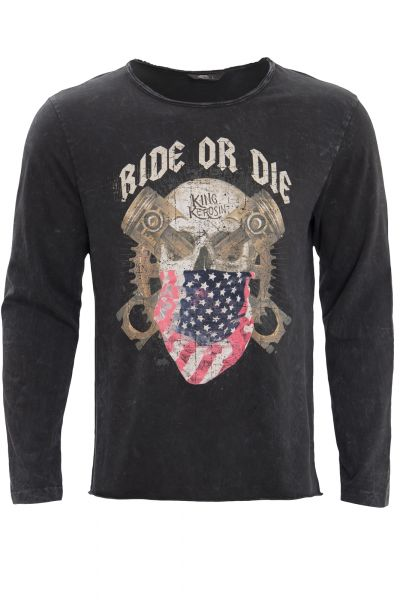 KING KEROSIN Langarmshirt im Used-Look mit Print ride or die