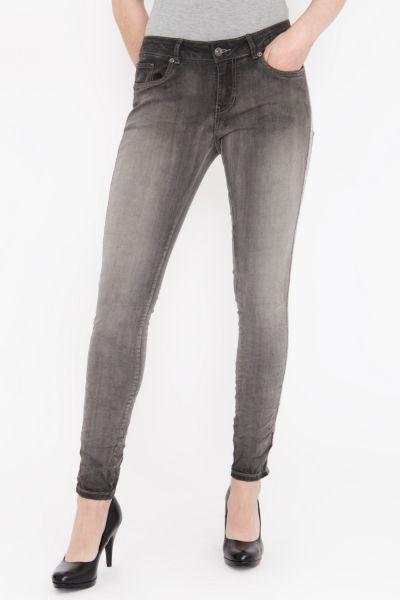 BLUE MONKEY Skinny Fit Jeans mit seitlich aufgenähtem Glitzerband, Used Look Honey 1854