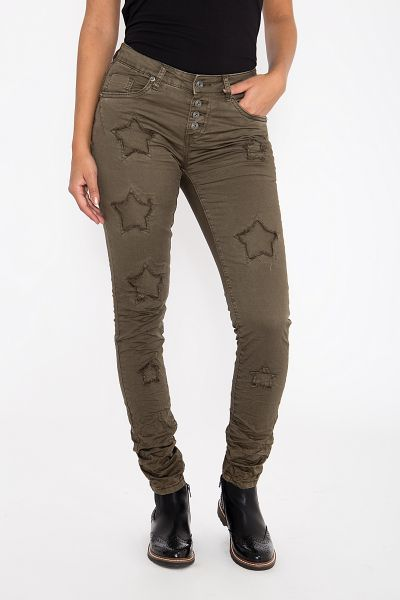 BLUE MONKEY Skinny Fit Jeans Sternen Patches Alexis