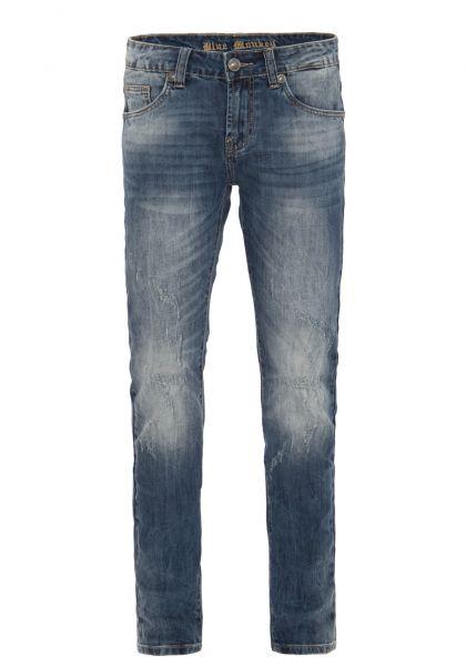BLUE MONKEY Slim Fit Jeanshose mit Abriebeffekten im Used Look » Paul 4434 « Paul 4434