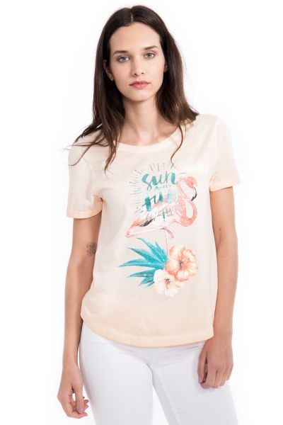 WAY OF GLORY  T-Shirt Flamingoprint&Pailletten