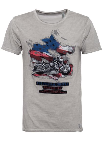 WAY OF GLORY Oil washed T-Shirt mit Patch-Motiv