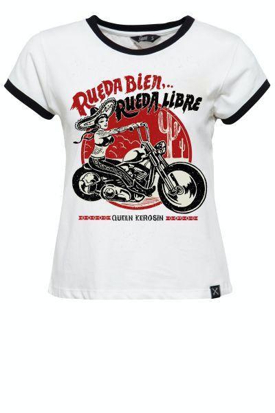 QUEEN KEROSIN Damen Contrast Shirt im Loose Fit mit Frontprint Rueda Libre