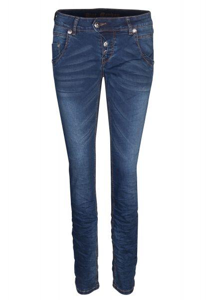 BLUE MONKEY Skinny Jeans mit Crinkle-Effekten Manie  3449