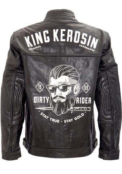 KING KEROSIN Lederjacke mit Vintage Print auf der Rückseite