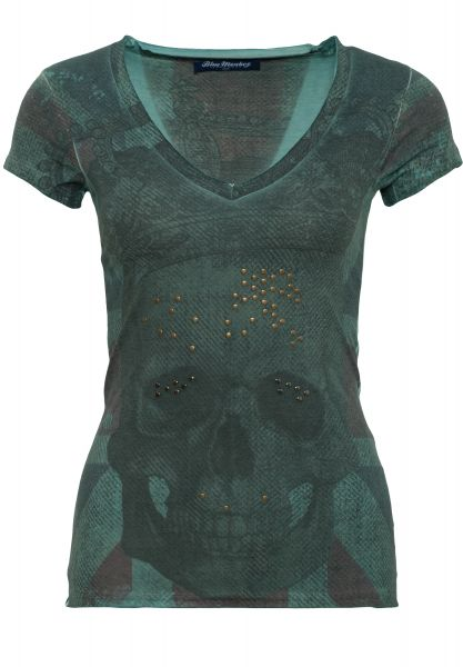 BLUE MONKEY T-Shirt mit Frontprint Skull Britain Style-1 17-4919