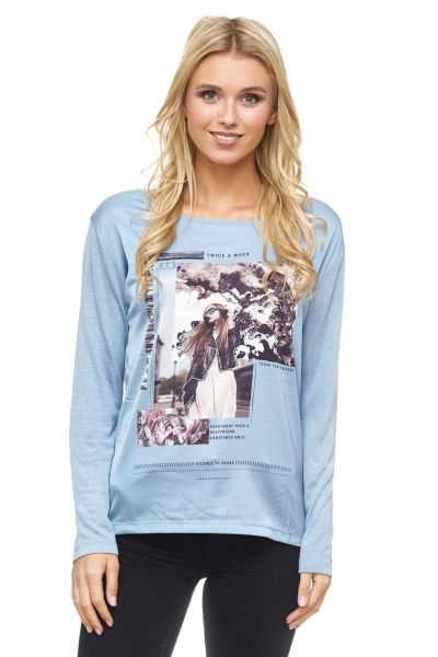 DECAY Blusenshirt mit Foto Druck und Strasssteinen
