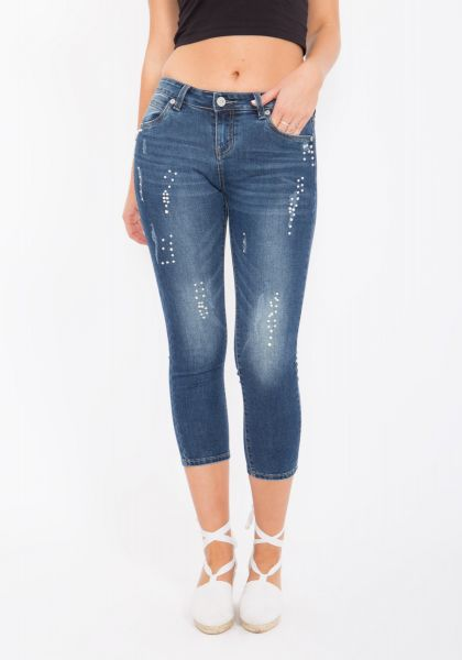 BLUE MONKEY Capri Jeans mit Perlen und Ziersteinen besetzt »Pearl 3773« Pearl 3773