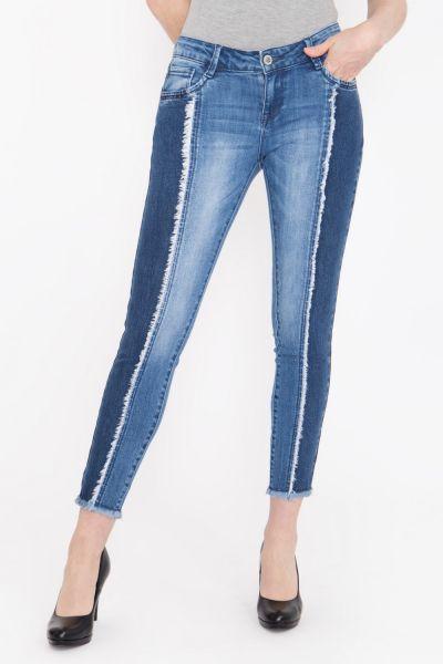 BLUE MONKEY Skinny Fit Jeans verkürzte Form mit modischen Fransendetails Natalia 3861