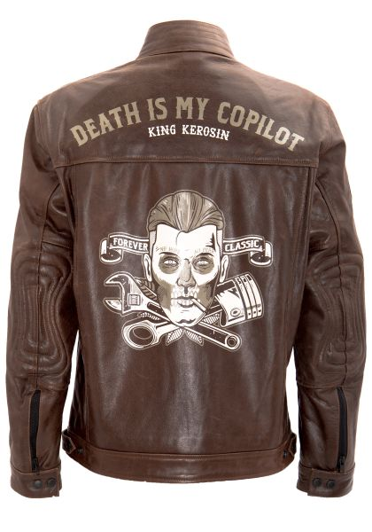 KING KEROSIN Lederjacke mit Vintage Print Death is my Copilot