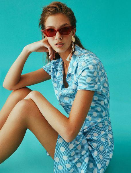 KOTON Hemdblusenkleid mit Vichy und Punkten