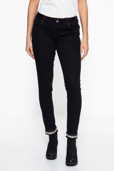 BLUE MONKEY Skinny Fit Jeans »Honey 7188« mit aufgesteppten Bändern am Saum Honey 7188