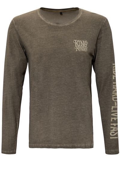 KING KEROSIN Longsleeve Shirt mit Prints und Oilwash-Effekten Ride Hard