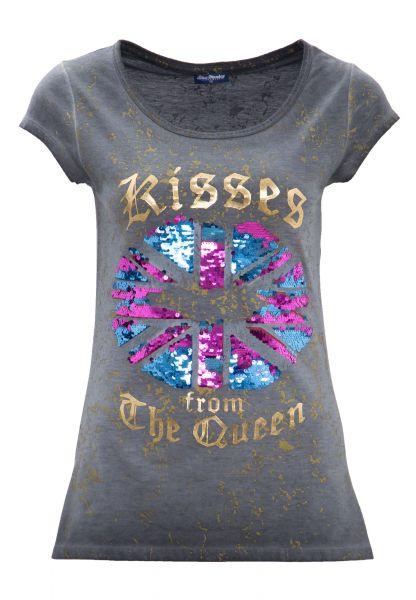 BLUE MONKEY Rundhalsshirt mit Pailletten-Motiv KISSES