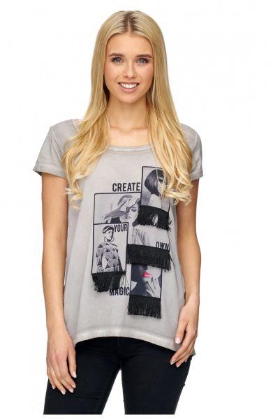 DECAY T-Shirt mit Foto Print und Fransen