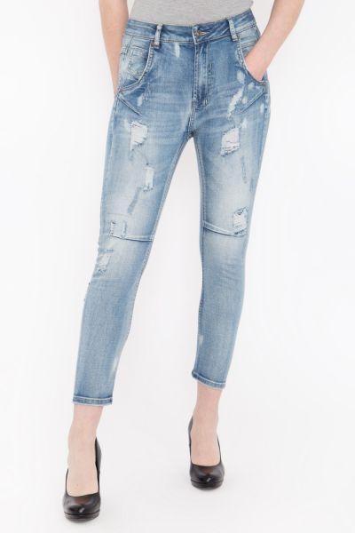 BLUE MONKEY Cropped Boyfriend Jeans mit Abnähern und Destroyed Elementen »Sina 1442« Sina 1442