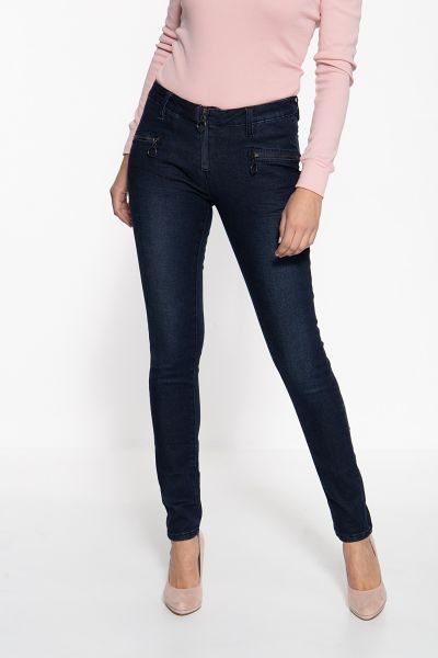 BLUE MONKEY Skinny Fit Jeans mit coolen Zippern Patricia