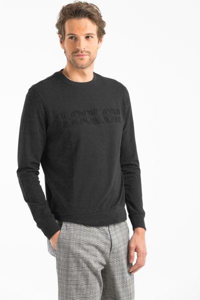 LUFIAN Sweatshirt mit gestanztem Logo und Rippbündchen Taran