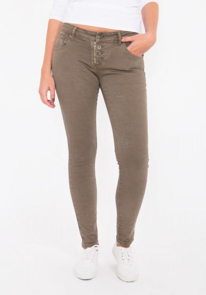 BLUE MONKEY Skinny Jeans mit Reißverschluss Detail Melly 8064