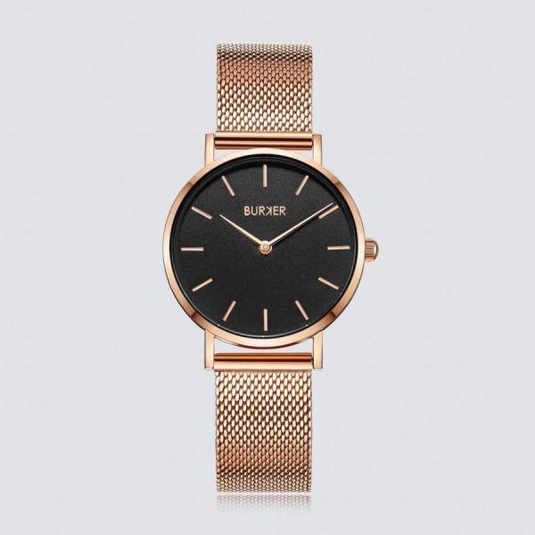 Burker Armbanduhr mit kontrastfarbenem Ziffernblatt und geflochtenem Armband Ruby Jr.