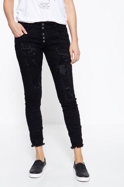 BLUE MONKEY Skinny Fit Jeans mit unterlegten Destroy-Elementen Marie