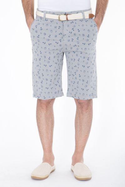 DANIEL DAAF Chino-Shorts mit allover Anker-Print inkl. Flechtgürtel