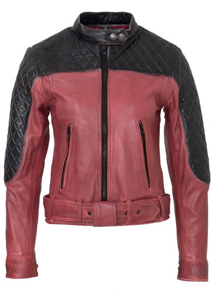 QUEEN KEROSIN Lederjacke im Racing Look