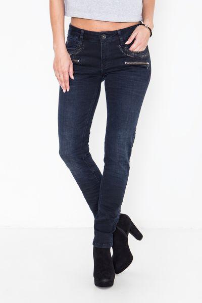 ATT JEANS Slim-Fit Jeans mit partiellem Glanzdruck und Reißverschlüssen Lindsay