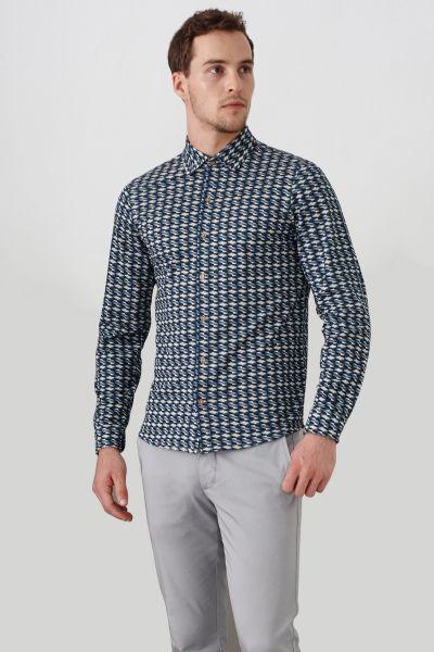 PORT ROYALE Langarm Hemd mit durchgängiger Knopfleiste und Allover-Muster