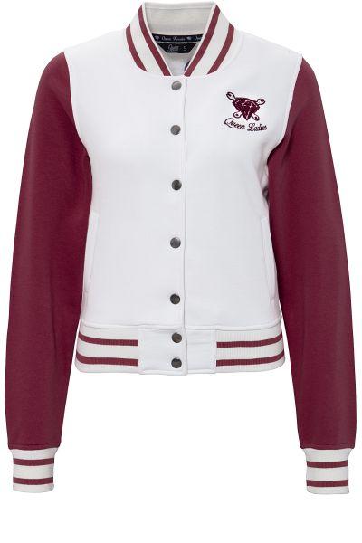 QUEEN KEROSIN College Jacket mit Frottier-Stickerei