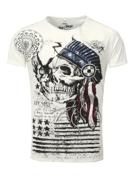 KEY LARGO Herren T-Shirt MT INDIAN SKULL round