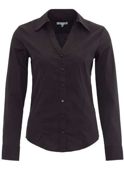 WAY OF GLORY Langarm-Bluse mit Stehkragen und V-Ausschnitt