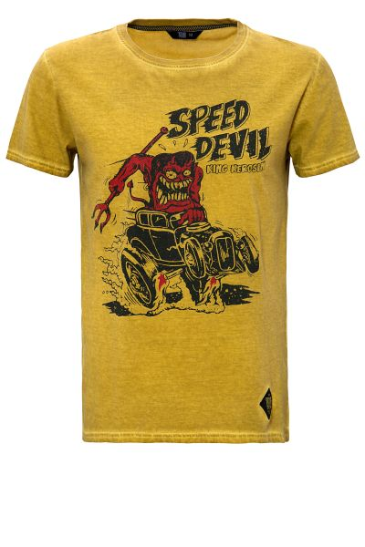 KING KEROSIN Oil Washed Shirt mit Print Speed Devil