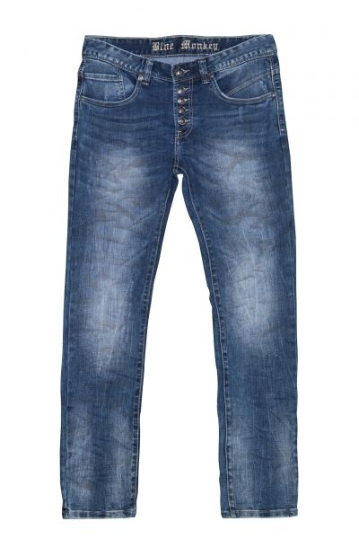 BLUE MONKEY Slim Fit Jeans in Crinkle-Optik Alex 2216