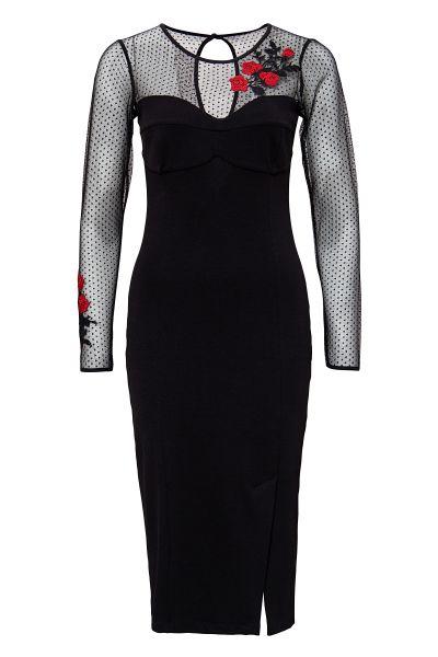QUEEN KEROSIN Pencil Kleid mit Spitzenärmel und kontrastfarbene Stickerei