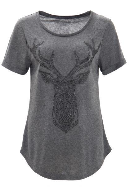WAY OF GLORY Meliertes T-Shirt mit 3D-Gummiprint dunkle Waschung