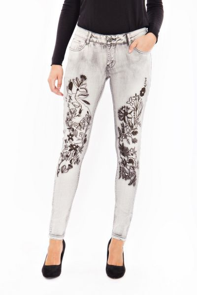 BLUE MONKEY Skinny Jeans mit floraler Stickerei und Strasssteinen Honey 8081