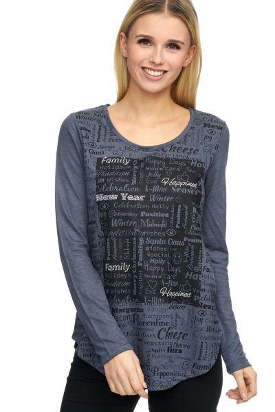 DECAY Feinstrick Langarmshirt mit Schrift Druck auf Vorderteil