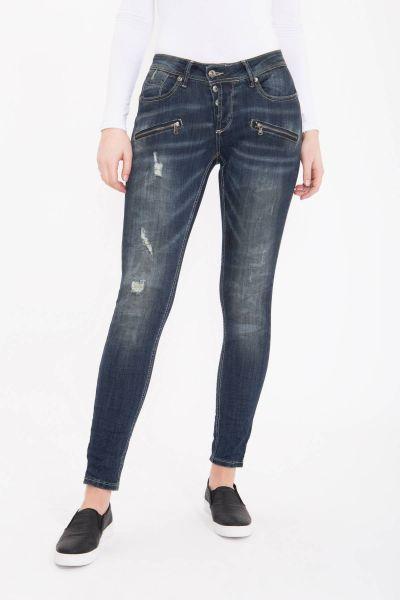 BLUE MONKEY Skinny Jeans mit Knopfleiste und Reißverschlusstaschen Alisa 1758