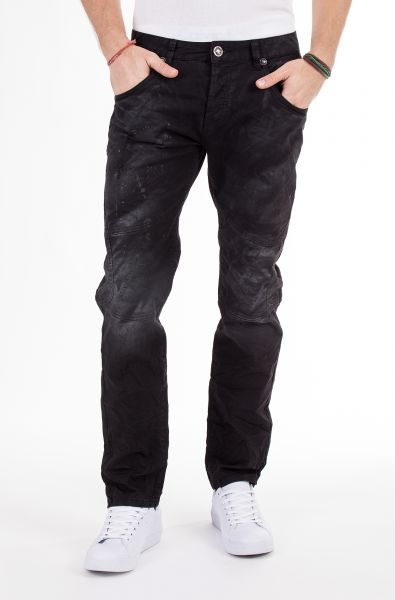 BLUE MONKEY 5 pocket slim fit Jeans mit Paint Splash Print