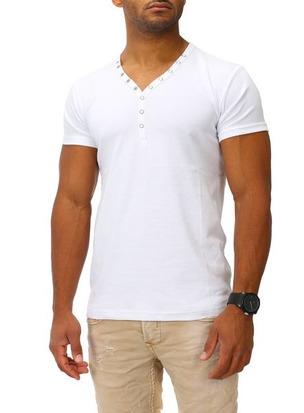 Joe Franks Herren Basic T-Shirt SMALL BUTTON Kurzarm Druckknopf Small Button