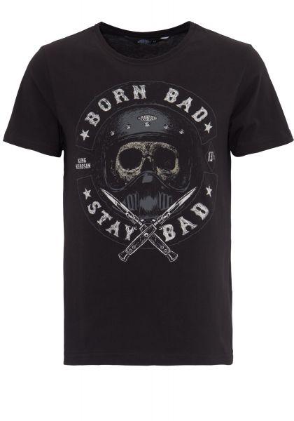 KING KEROSIN T-Shirt mit Skull Print Born Bad Stay Bad