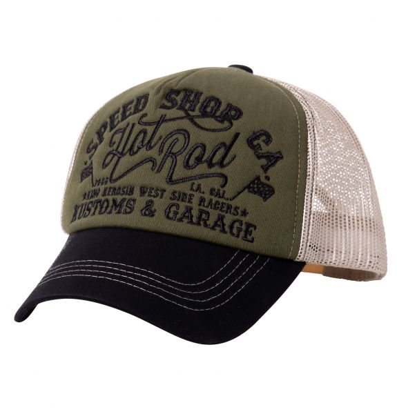 King Kerosin Trucker Cap mit Front-Stickerei Hot Rod