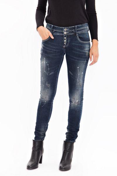 BLUE MONKEY Skinny Jeans mit Farb- und Abriebeffekten Sunny 1662