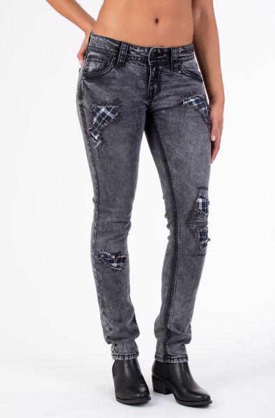 BLUE MONKEY 5-Pocket Skinny Fit Jeans mit Karo-Patch und Strass Luna 3696